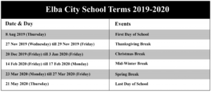 Elba City School Terms 2020-2021