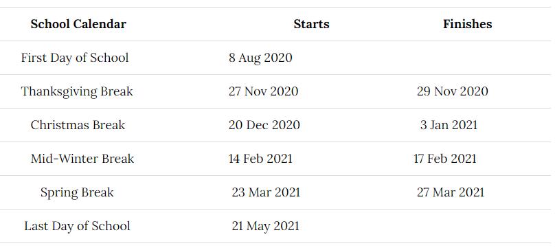 Elba City Schools Holidays 2020-2021