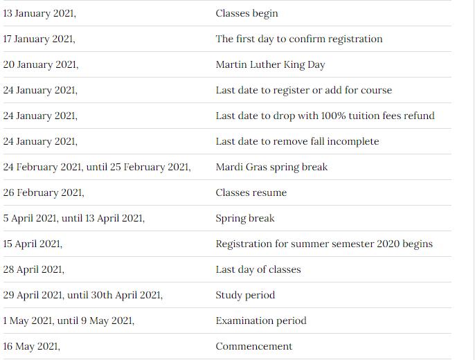 Tulane University Calendar 2021