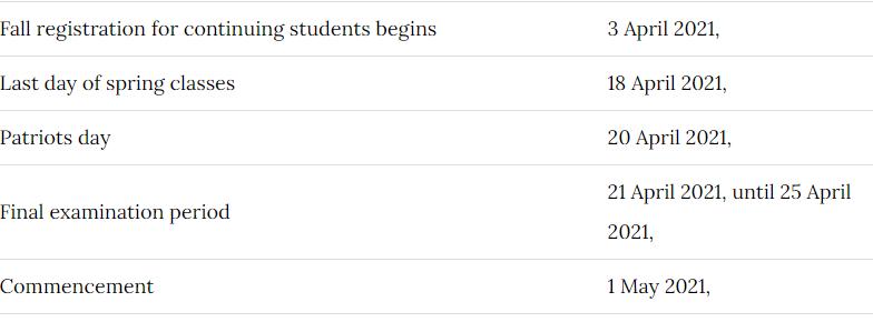 Northeastern University Calendar 2021