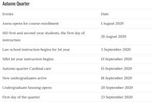 Stanford University Academic Calendar