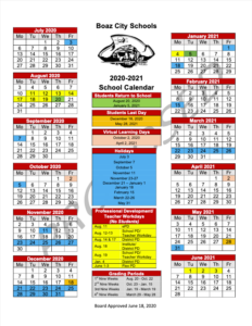 Boaz City School Holidays 2021