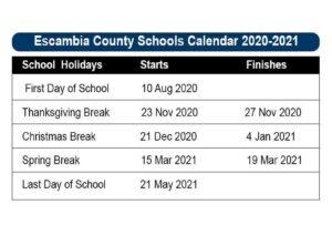 Escambia County School Calendar pdf