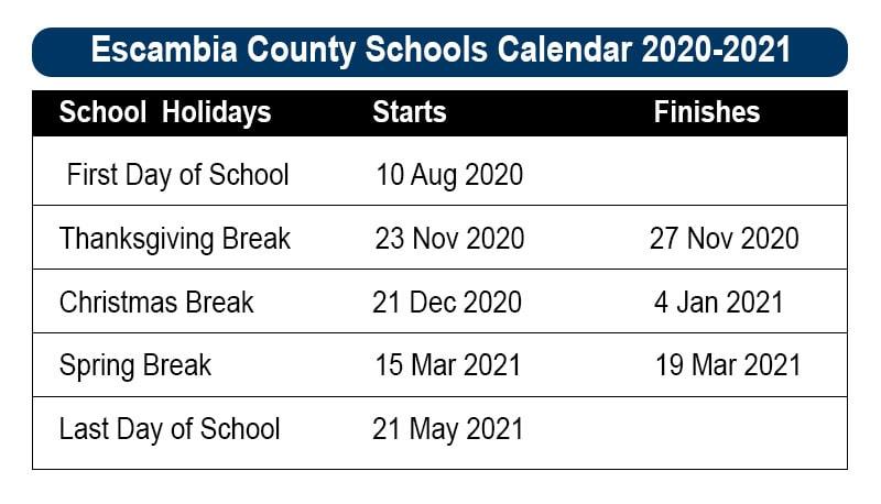 Escambia County School Calendar