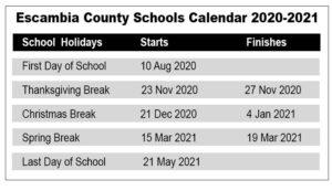 Escambia County School District Calendar