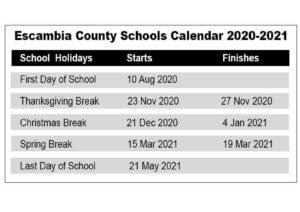 Escambia County School District Calendar pdf