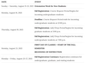 Rice University Calendar 2021-2022