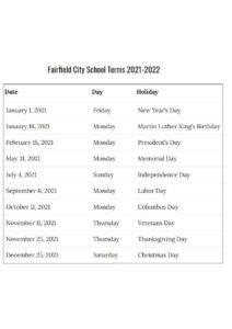 Fairfield City School Calendar 2021 2022 pdf