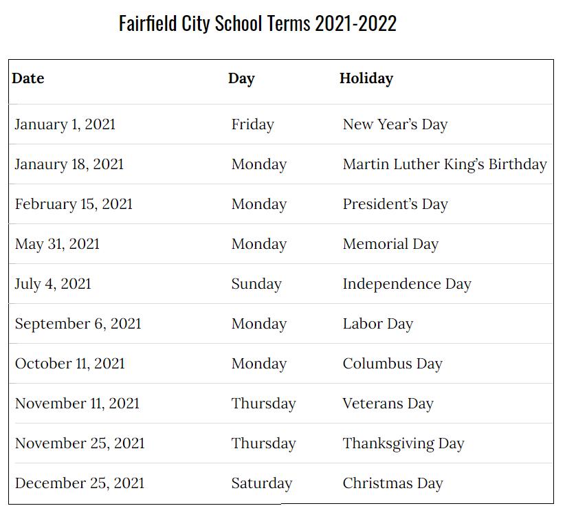 Fairfield City School Calendar 2021-2022
