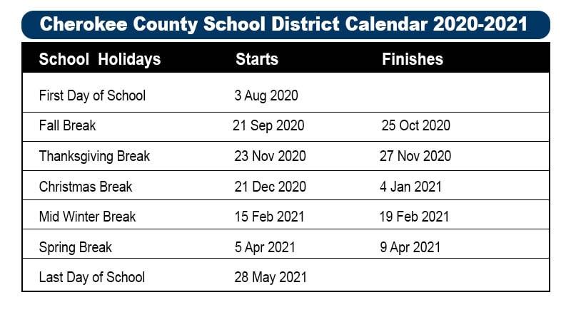 Cherokee County School District Calendar