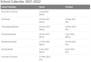 Cherokee County Schools Calendar 2021-2022