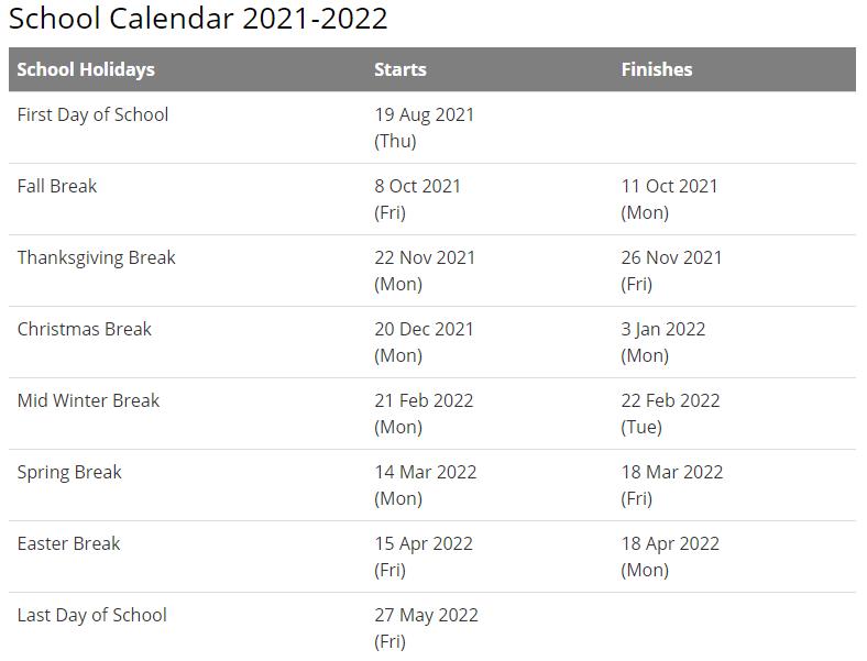 Georgetown University Calendar 2021-2022