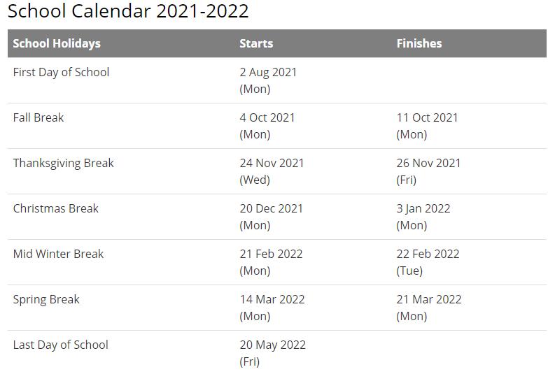 Blount County School Calendar 2021-2022