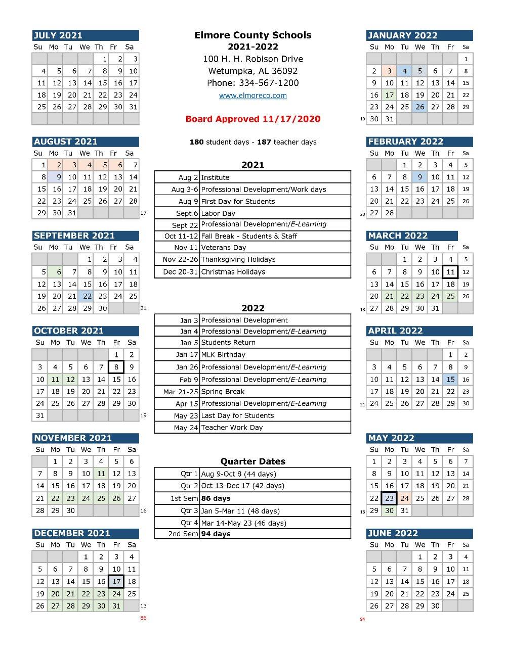 Elmore County School Calendar 2021-2022