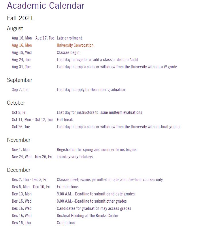 Clemson Academic Calendar 2021-2022
