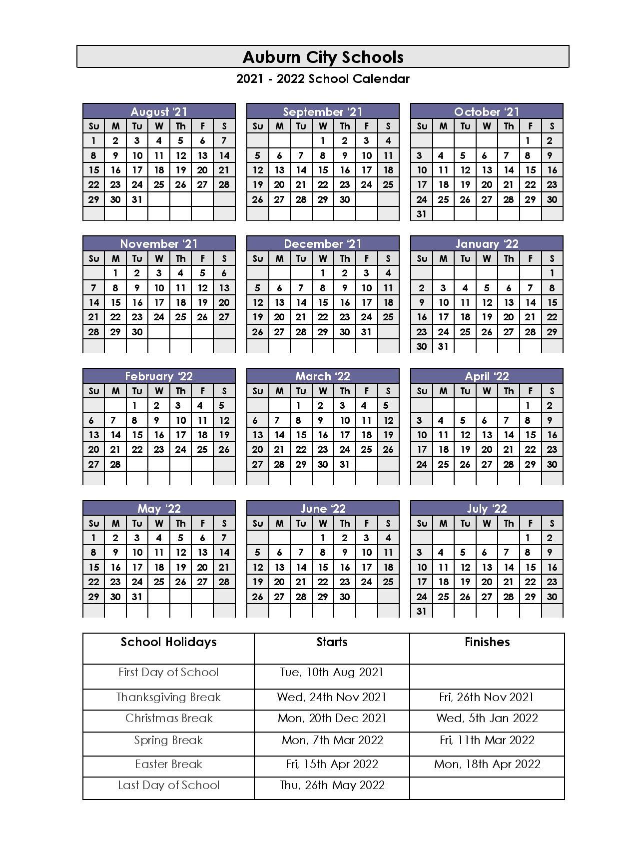 Auburn City School Holidays 2021-2022