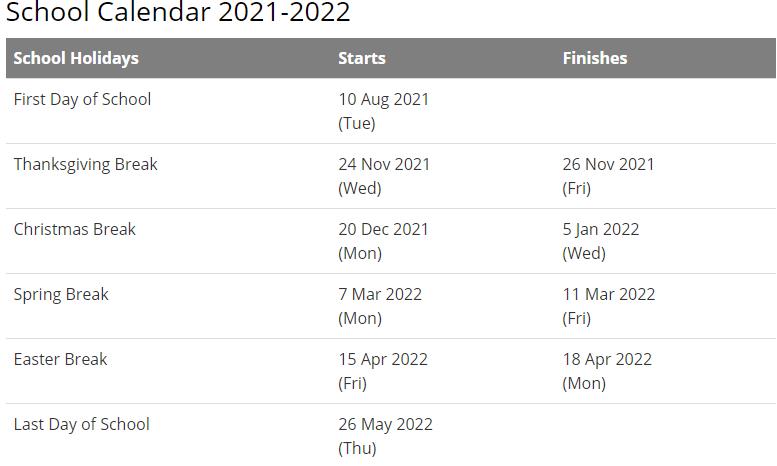 Auburn City School Calendar 2021-2022