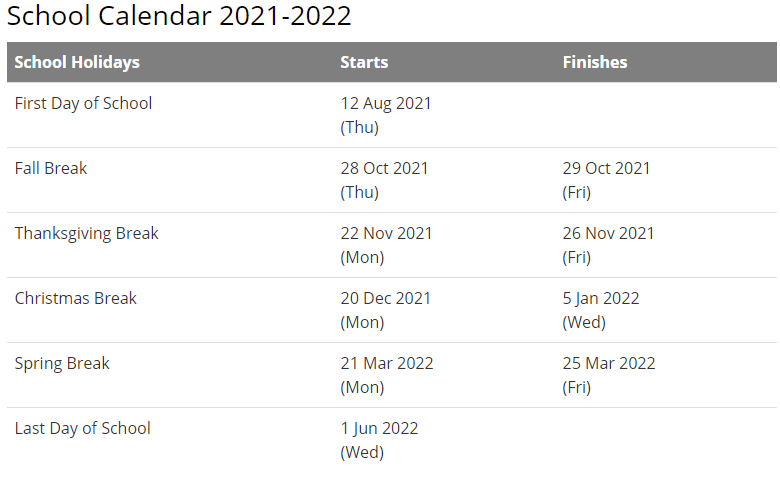 Calhoun County School District Calendar 2021-2022