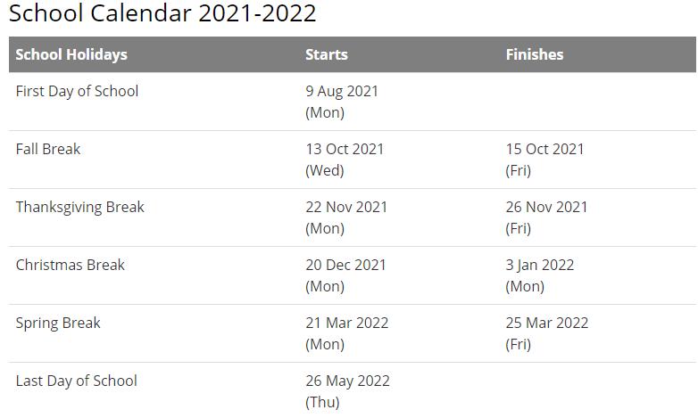 Dallas County School Calendar 2021-2022