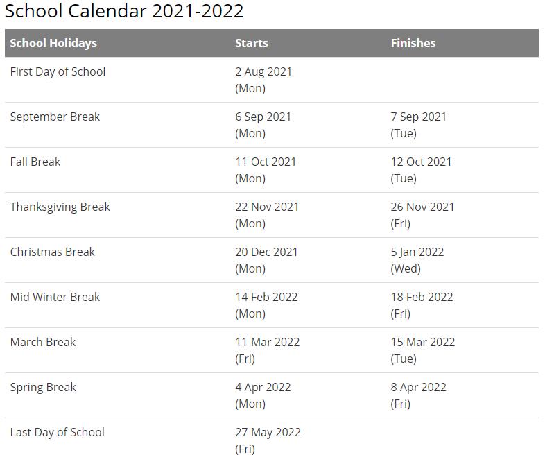 Fayette County School Calendar 2021-2022