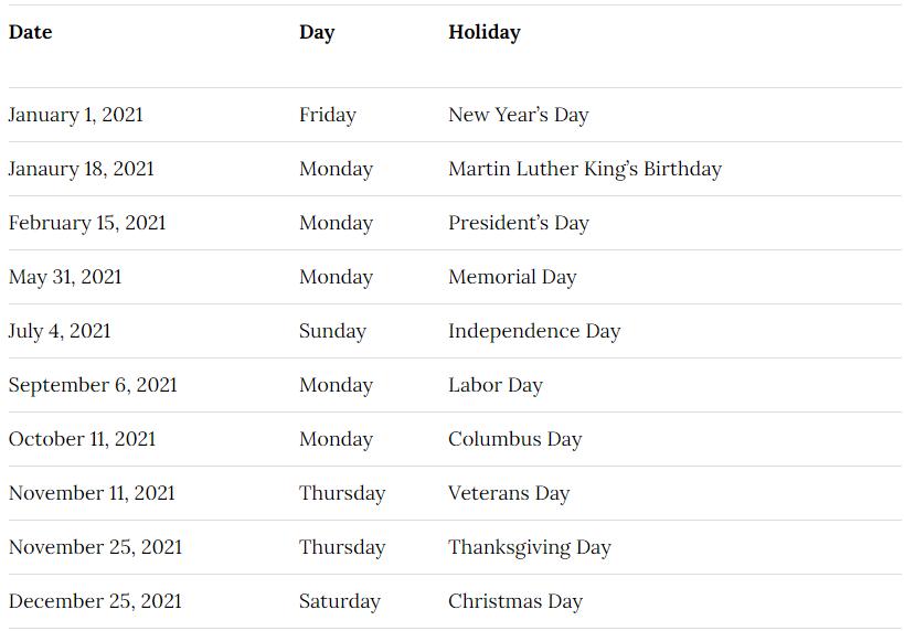Washington University Calendar 2021-2022